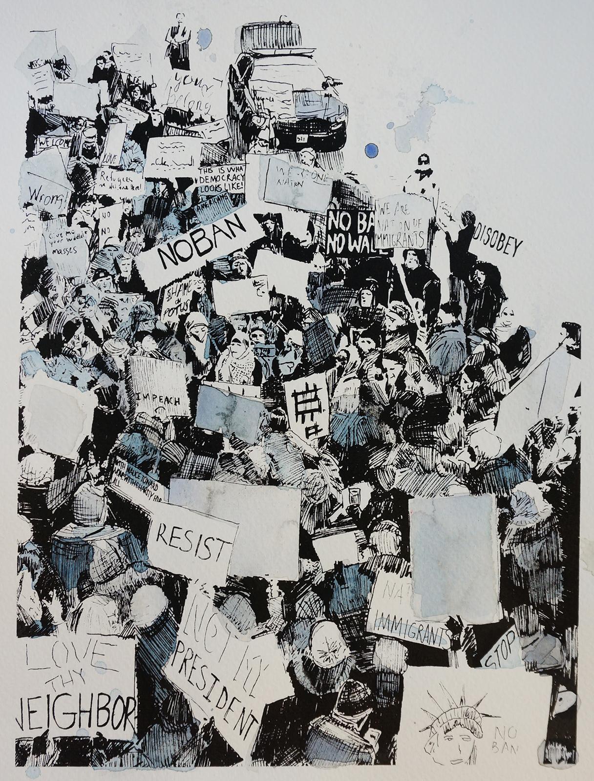 Ape_Bleakney_March Mixed Media - 'No Ban (6)', 9.5''x12.5'', Screen Print + Watercolor, 2018 copy.jpg