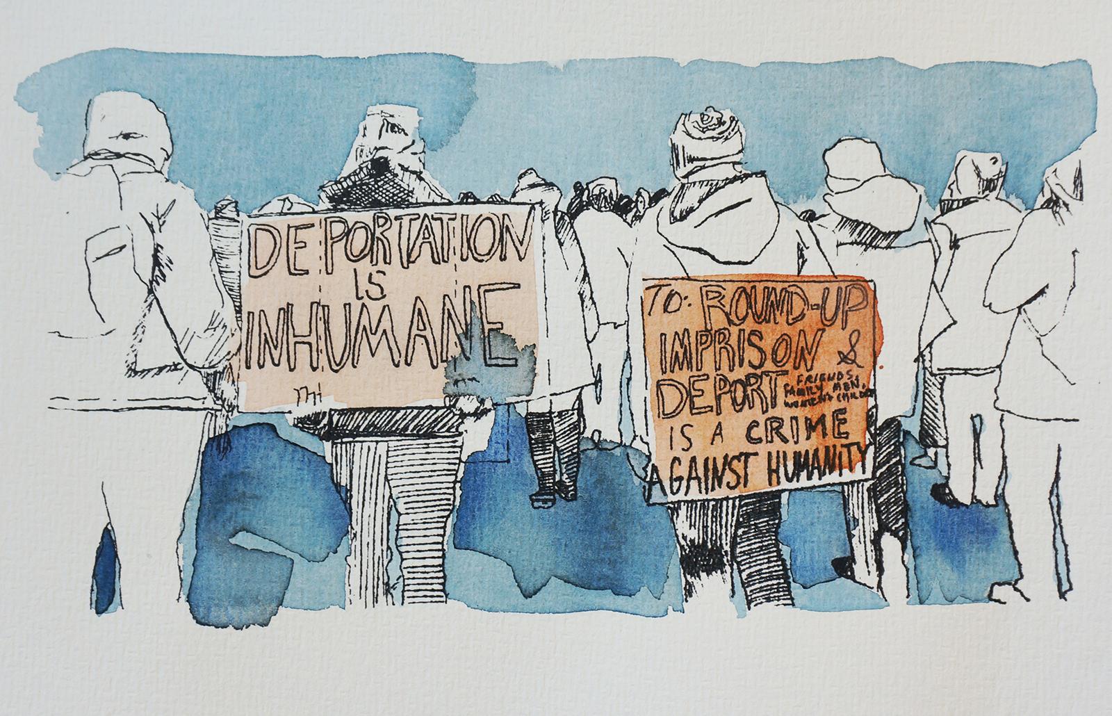Ape_Bleakney_March Mixed Media - 'Inhumane (8)', 6.5''x9.5'', Screen Print + Watercolor, 2018 copy.jpg