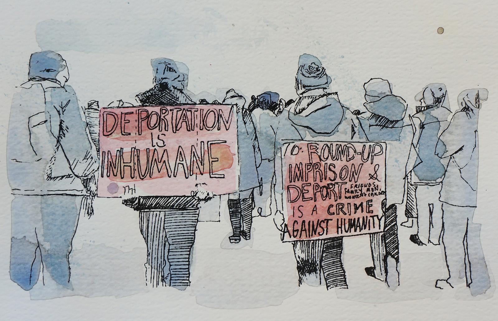 Ape_Bleakney_March Mixed Media - 'Inhumane (4)', 6.5''x9.5'', Screen Print + Watercolor, 2018 copy.jpg