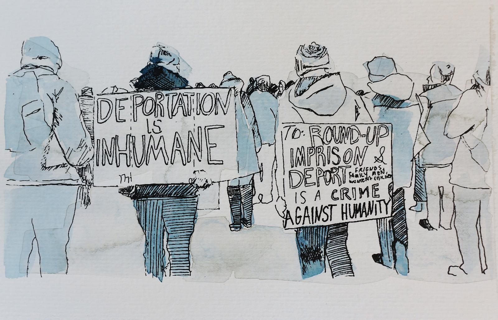 Ape_Bleakney_March Mixed Media - 'Inhumane (1)', 6.5''x9.5'', Screen Print + Watercolor, 2018 copy.jpg