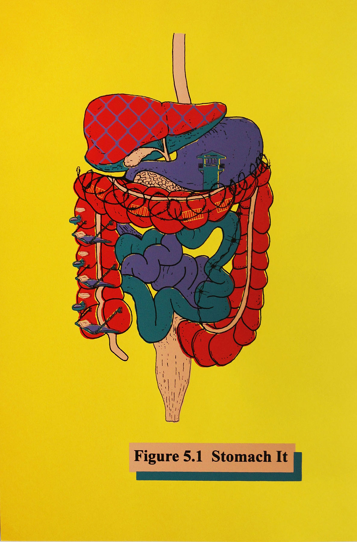 Ape_Bleakney_'Stomach It (Yellow)', Screen Print, 12.5''x19'', 2018.jpg