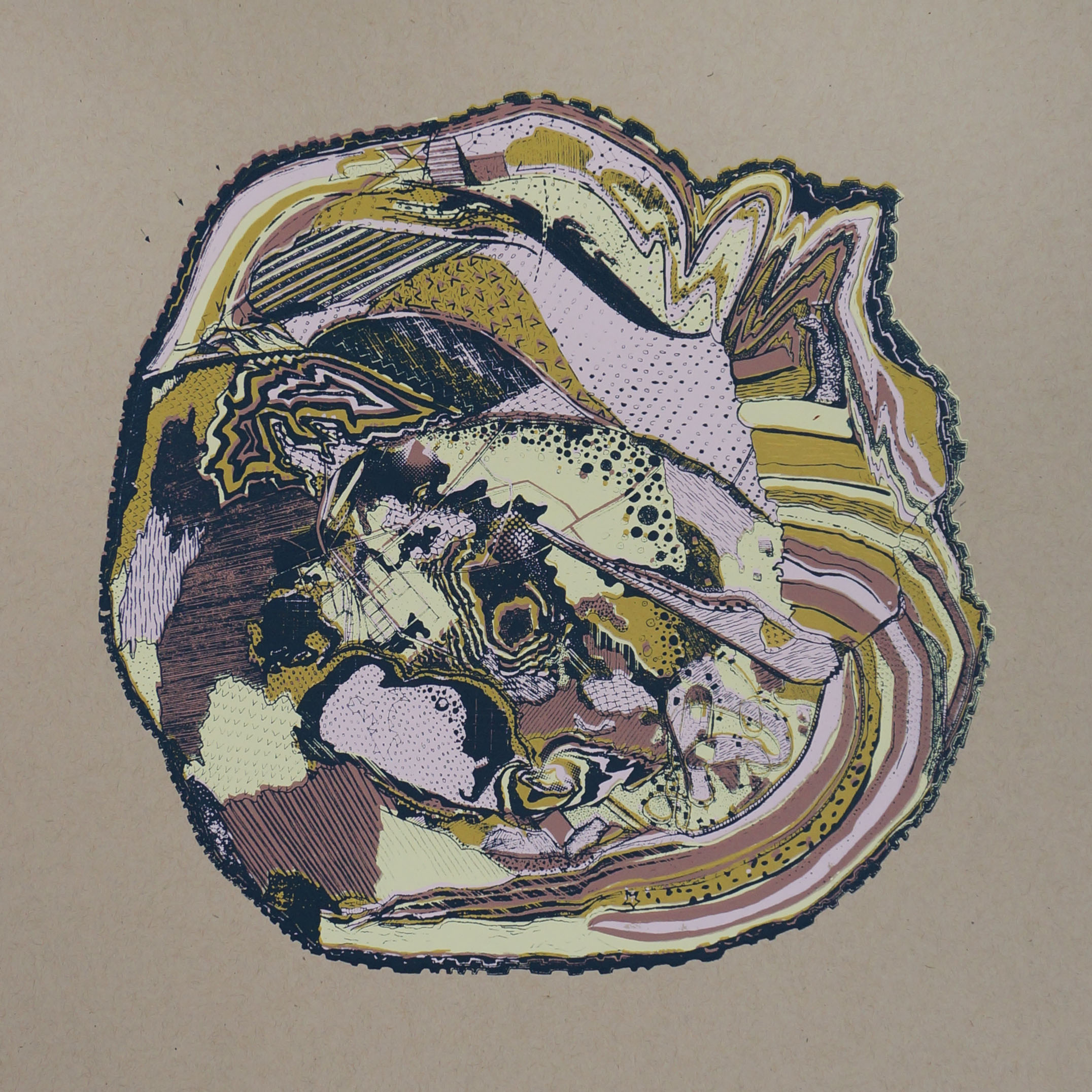 'Tree Rings (Growth)' (Kraft Paper), Screen Print, 12.5'' x 12.5'', 2019.jpg