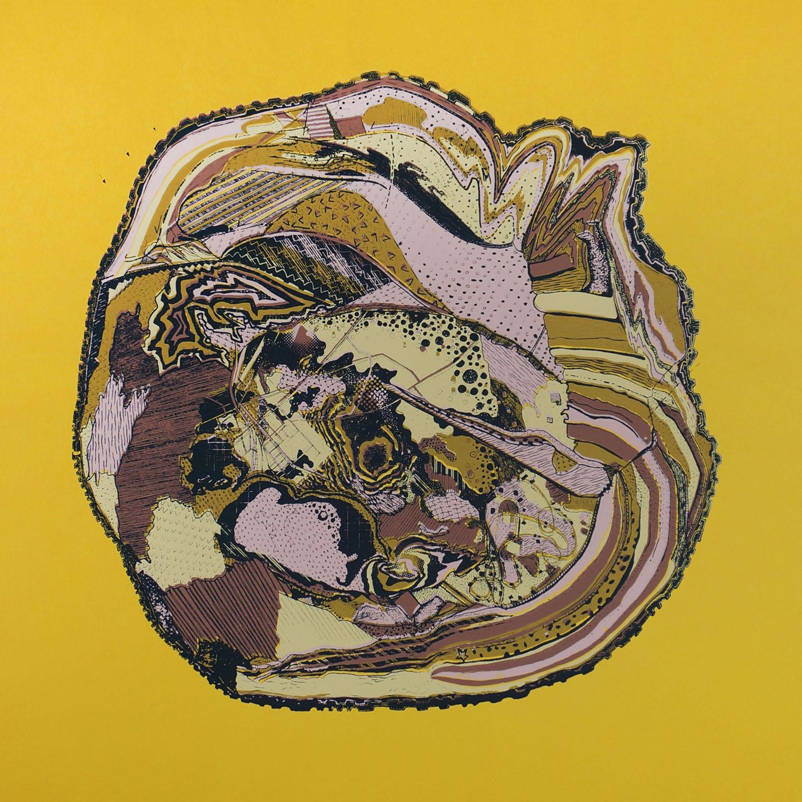 Ape_Bleakney_'Tree Rings (Growth)' (Yellow Paper), Screen Print, 12.5'' x 12.5'', 2019.jpg