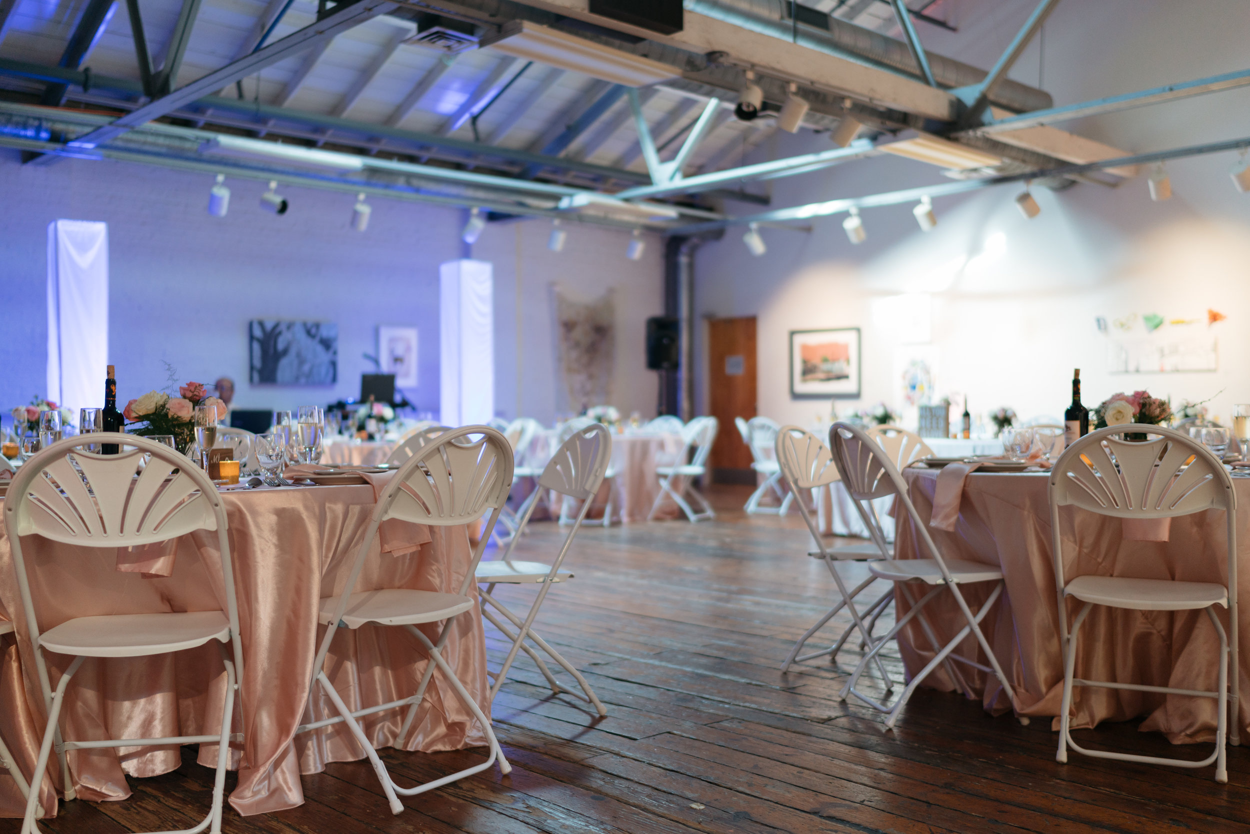 We ended up asking for rentals from our catering company as they were the least expensive option we could find: we asked for additional tables (since the venue offered us several which saved us money, chairs, linens for the tables- table cloth and napkins, silverware, cups and wine glasses. I originally envisioned  a different colored napkin on the tables and Bryan and I ended up really liking the blush on blush setting.