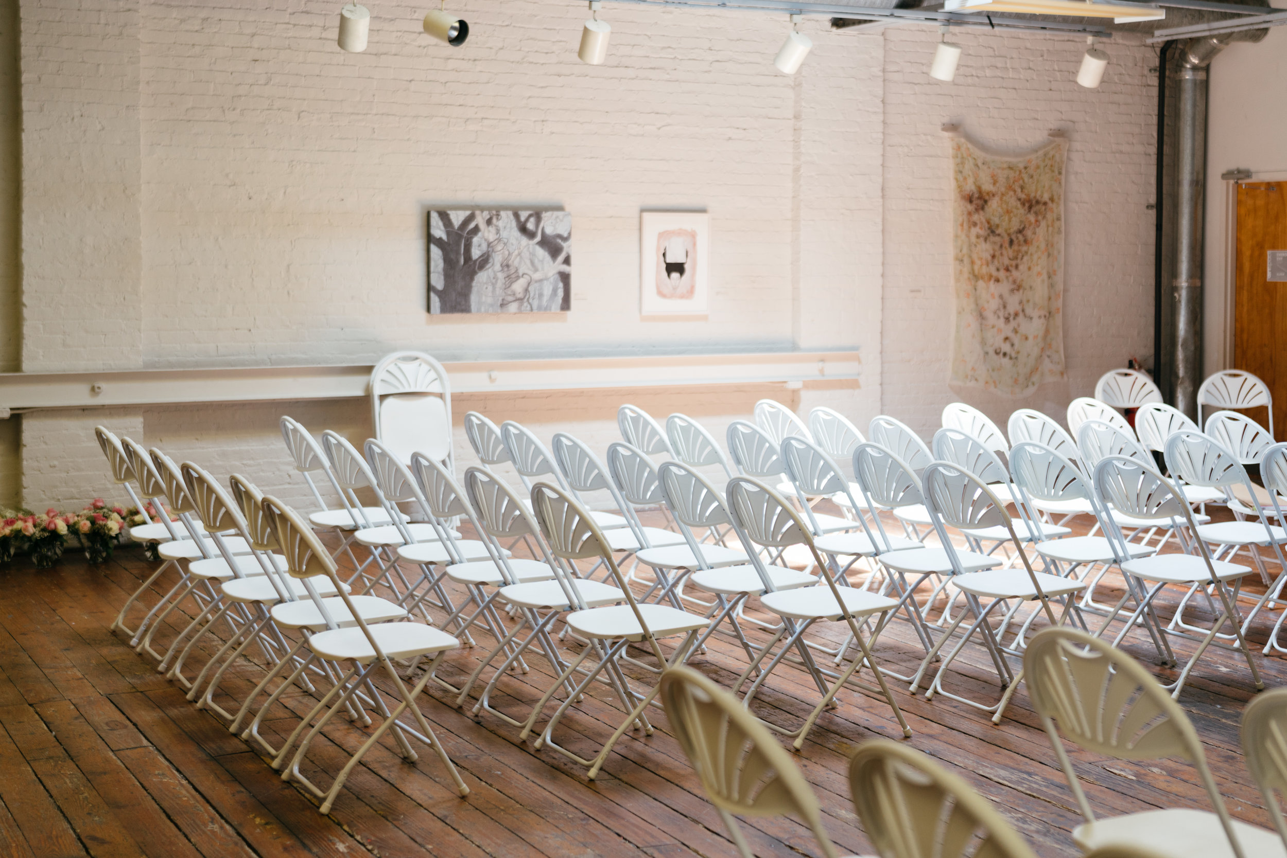 We probably ended up having 80 guests at our wedding and had originally planned for about 120. It was truly more than enough room for all! While I would've chose different chairs I actually l loved these because they were white, clean, and practical while flipping the space (Gallery 2) from the ceremony to the reception.
