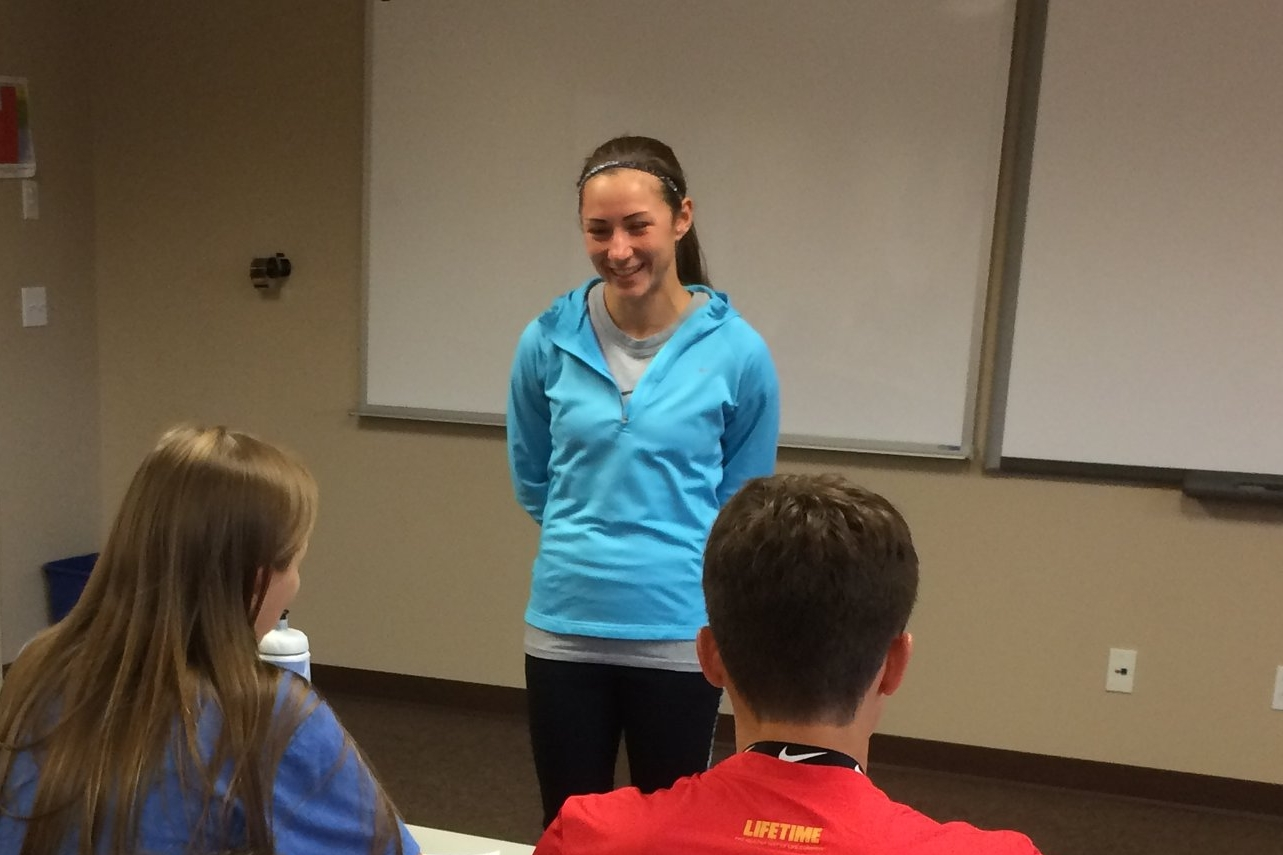 Coach Angela speaking at Nike Cross-Country Camp in Leadville, CO (2017)