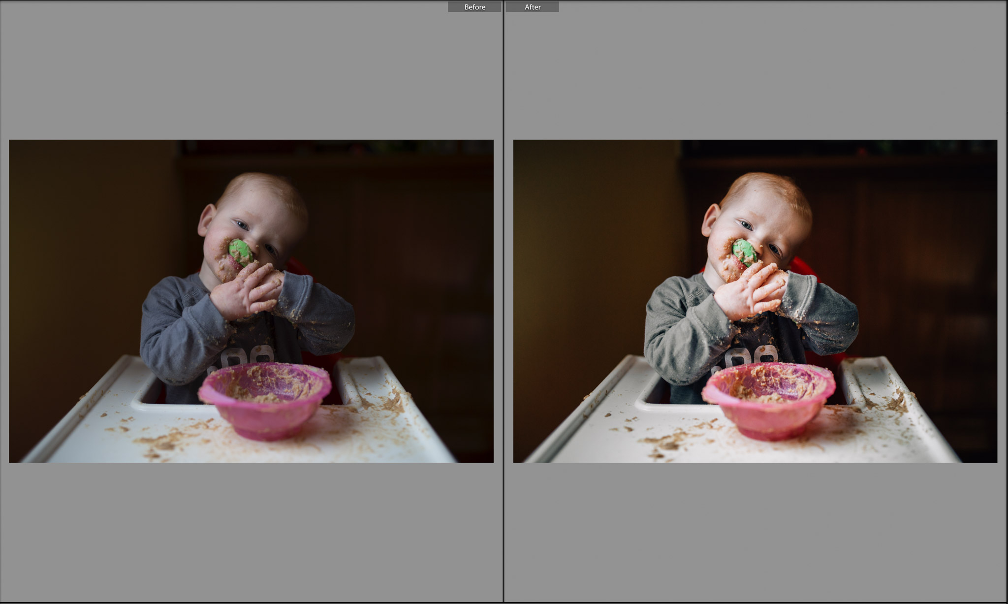 before and after little boy eating breakfast.jpg