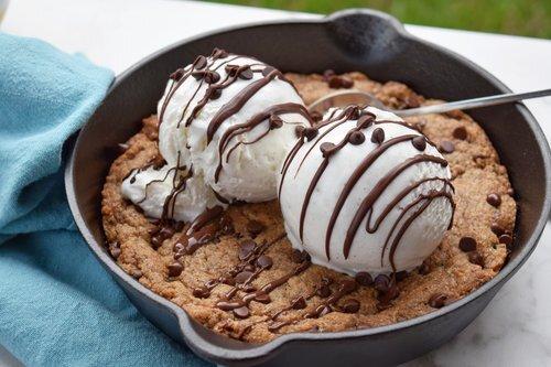 Vegan Chocolate Chip Skillet Cookie