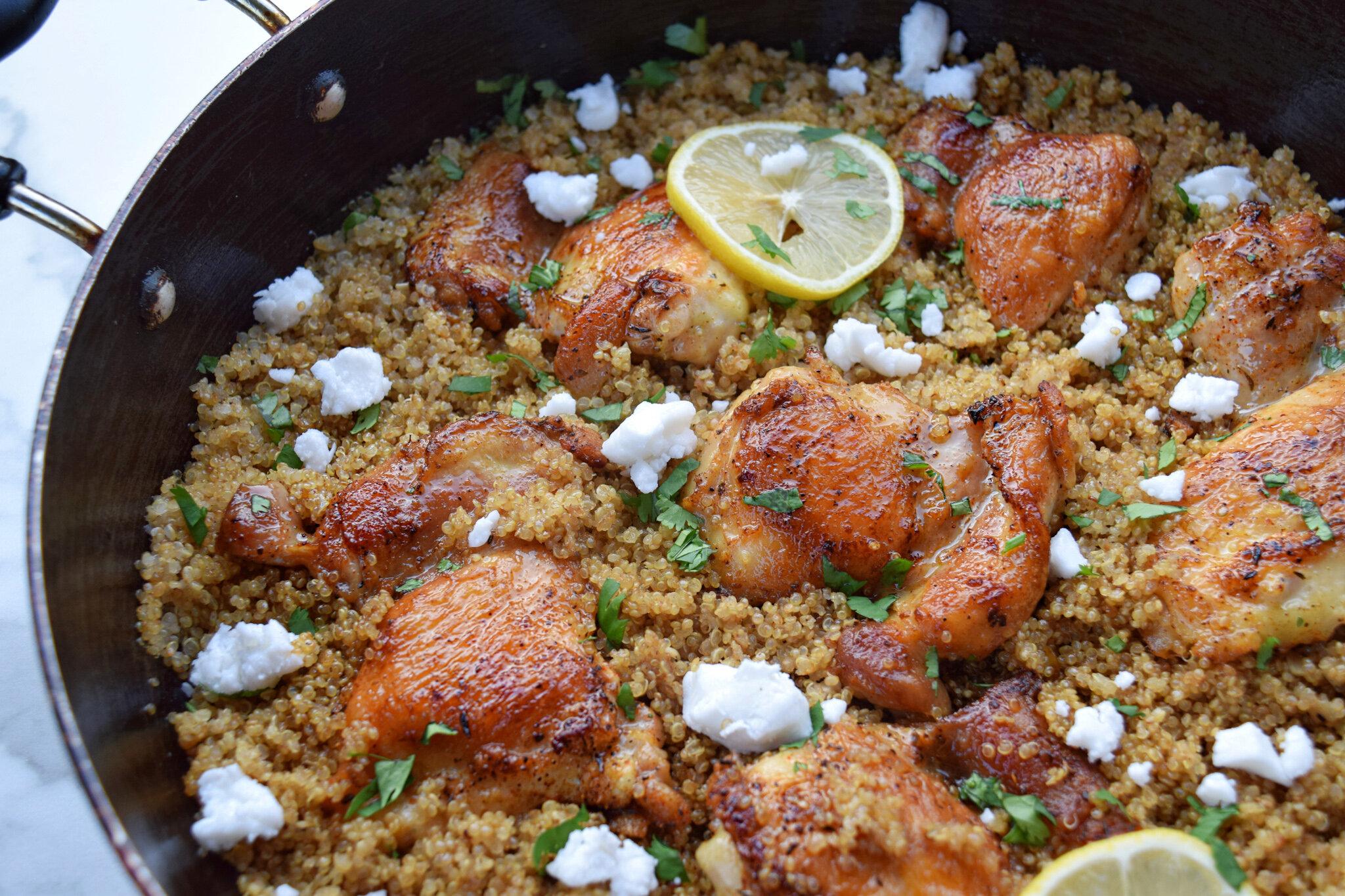 One Pan Chicken Thighs & Quinoa