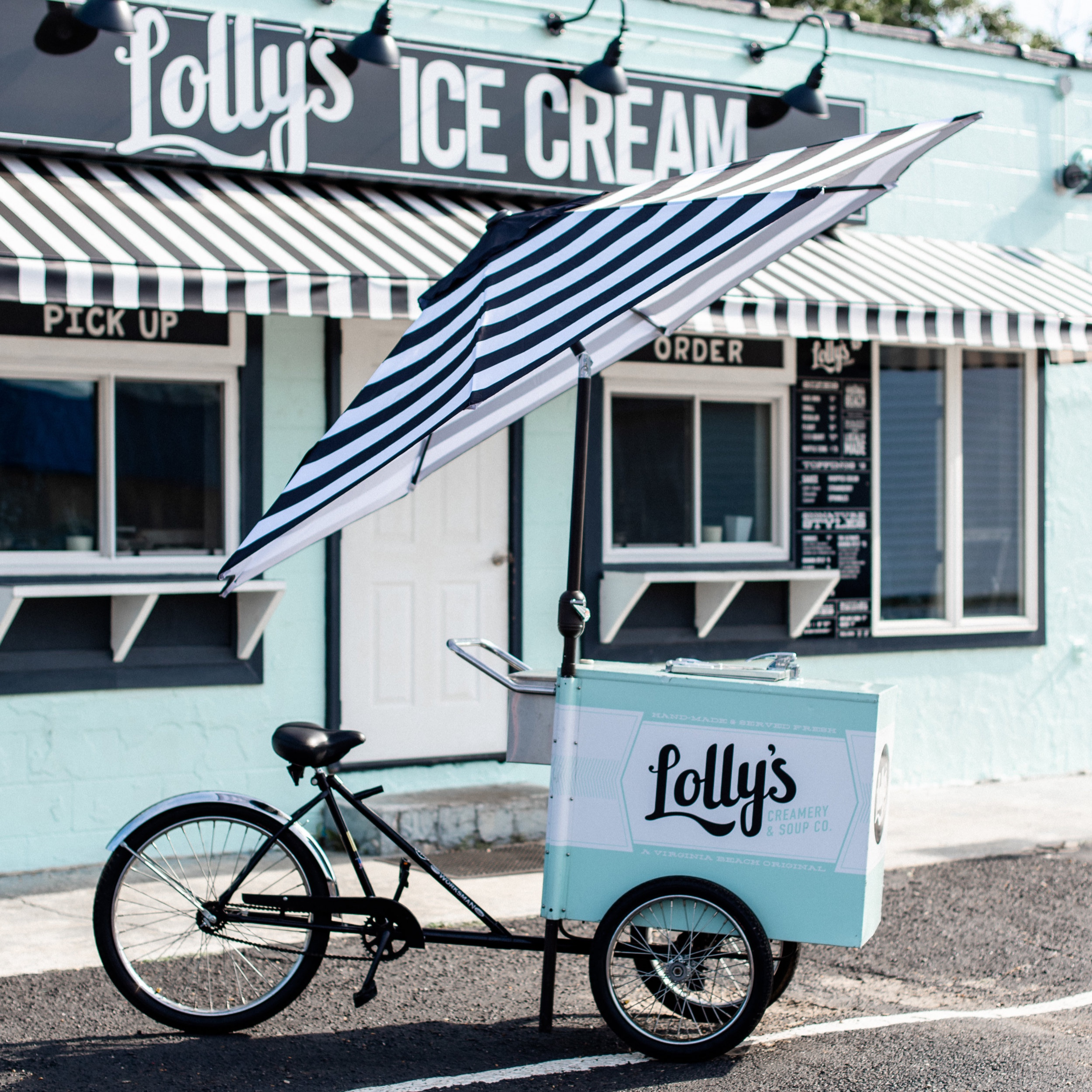 Joy Bike - Lolly's Joy Bike bring smiles with the nostalgic memories of ice cream served from vintage ice cream carts and bikes! In fact, Lolly's custom Joy Bike is manufactured by the same company that has produced the Good Humor bikes of yesteryear that so many of our patrons refer to as a wonderful memory from their childhoods.