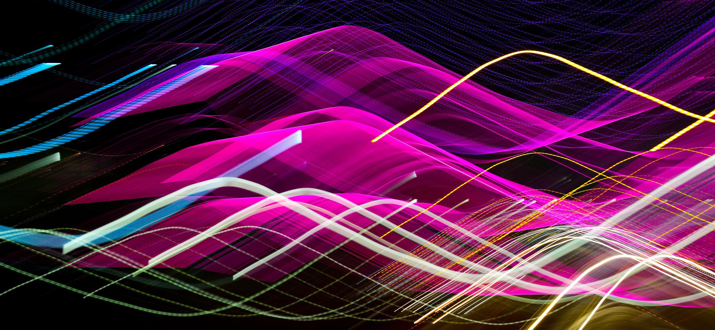 "Sine City    Long exposure - Sine waves cut through the night  35mm f8 1.6"" ISO 100"