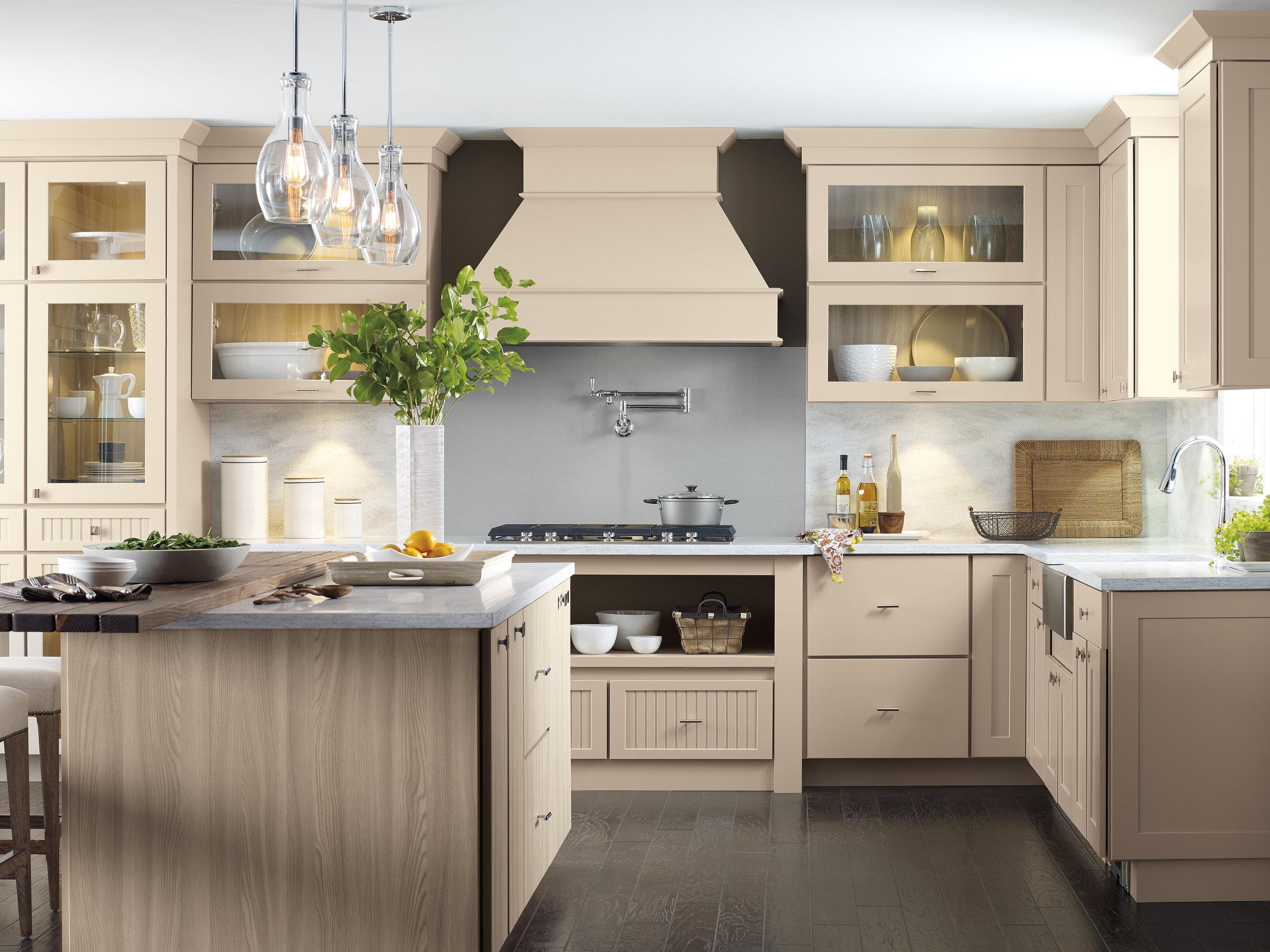 Nicole Janes Design Off White Kitchen Wood Hood Island