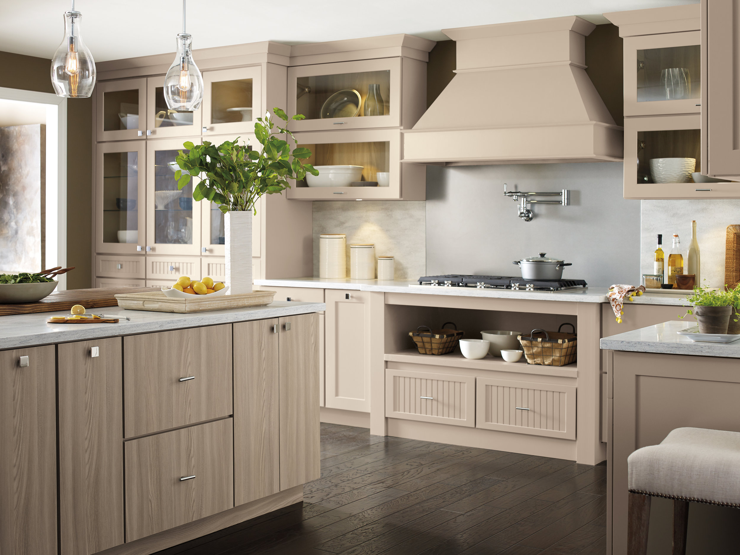 Nicole Janes Design Diamond Cabinetry Off White Kitchen Wood Hood Island