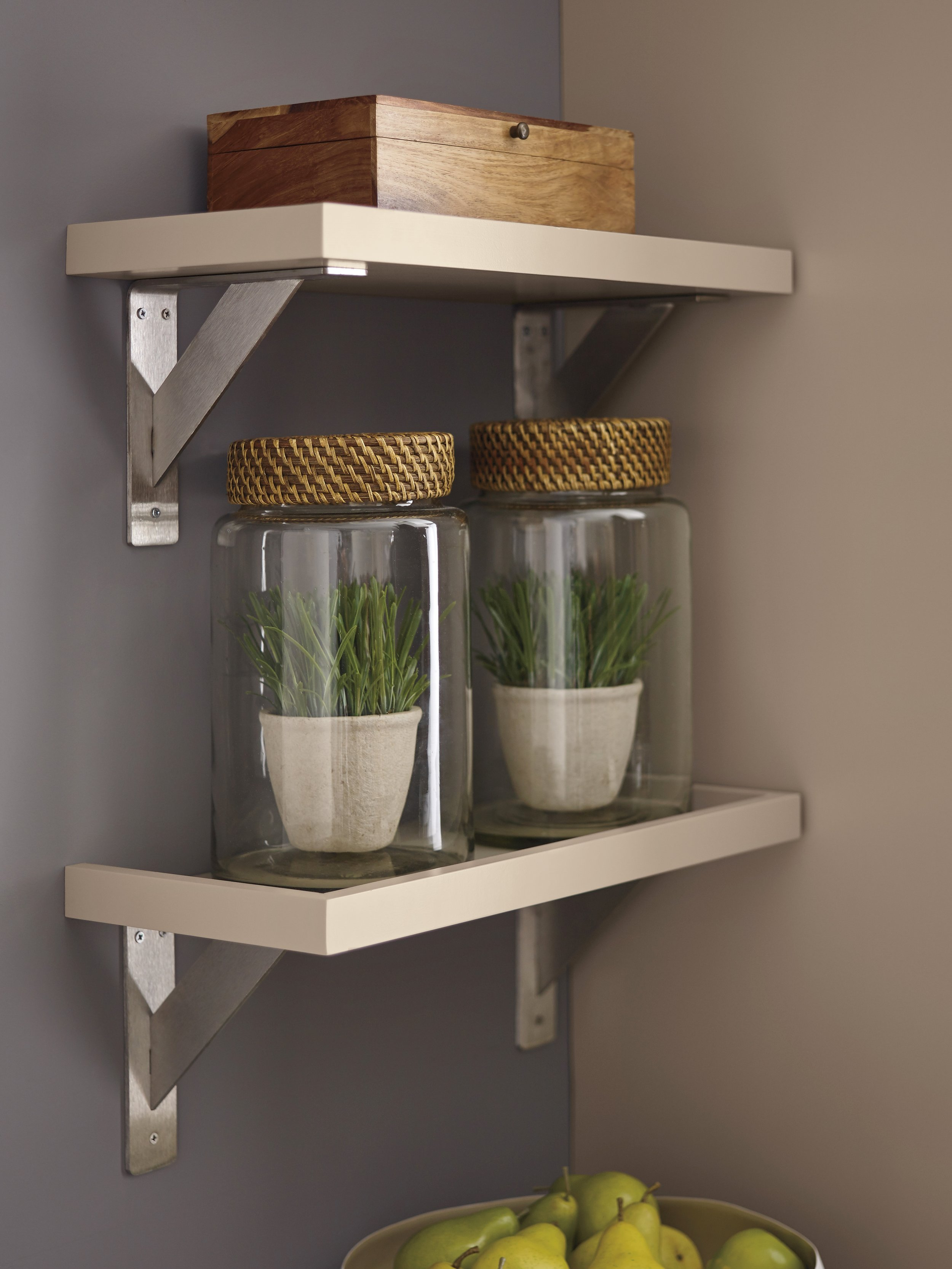Nicole Janes Design Diamond Cabinetry Off White Kitchen Floating Open Shelves