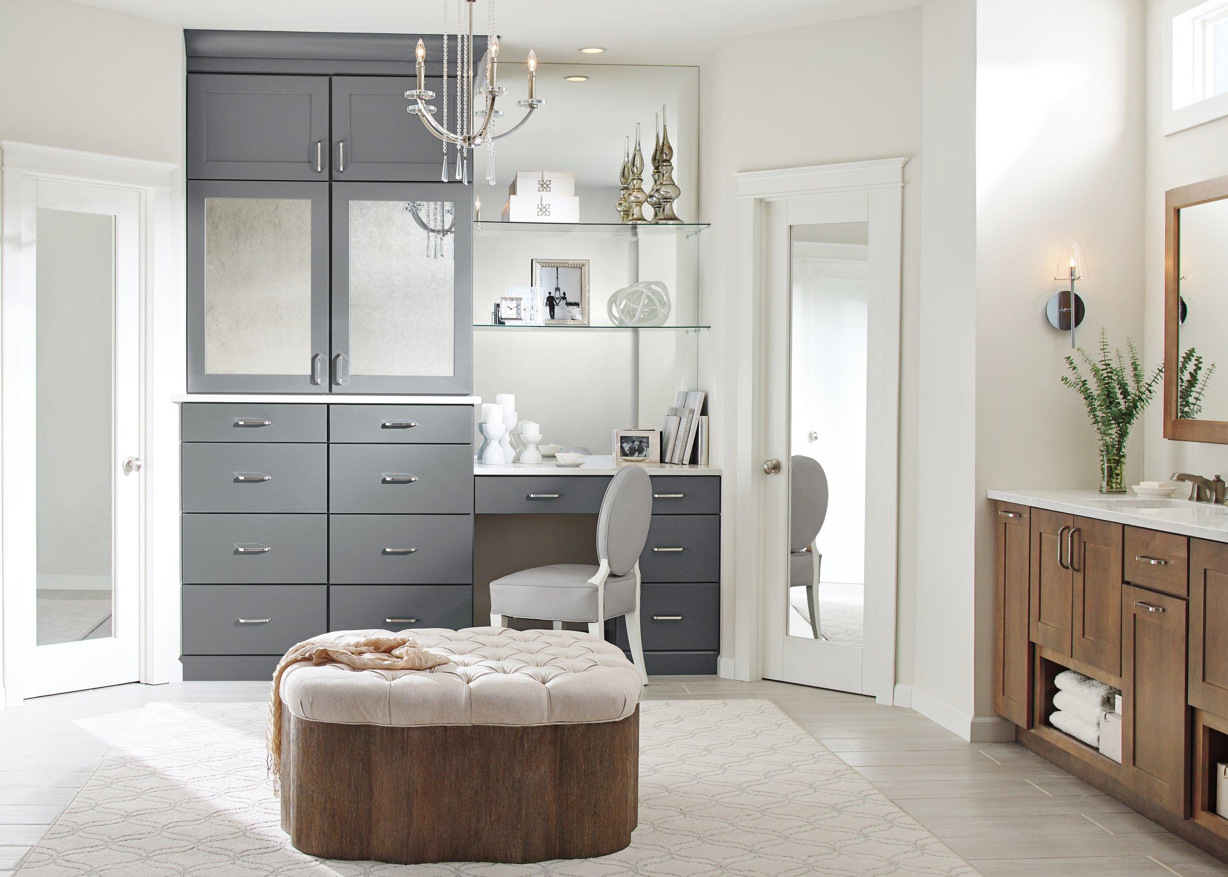 Nicole Janes Design Diamond Cabinets Gray Bathroom Vanity Makeup Counter Mirror
