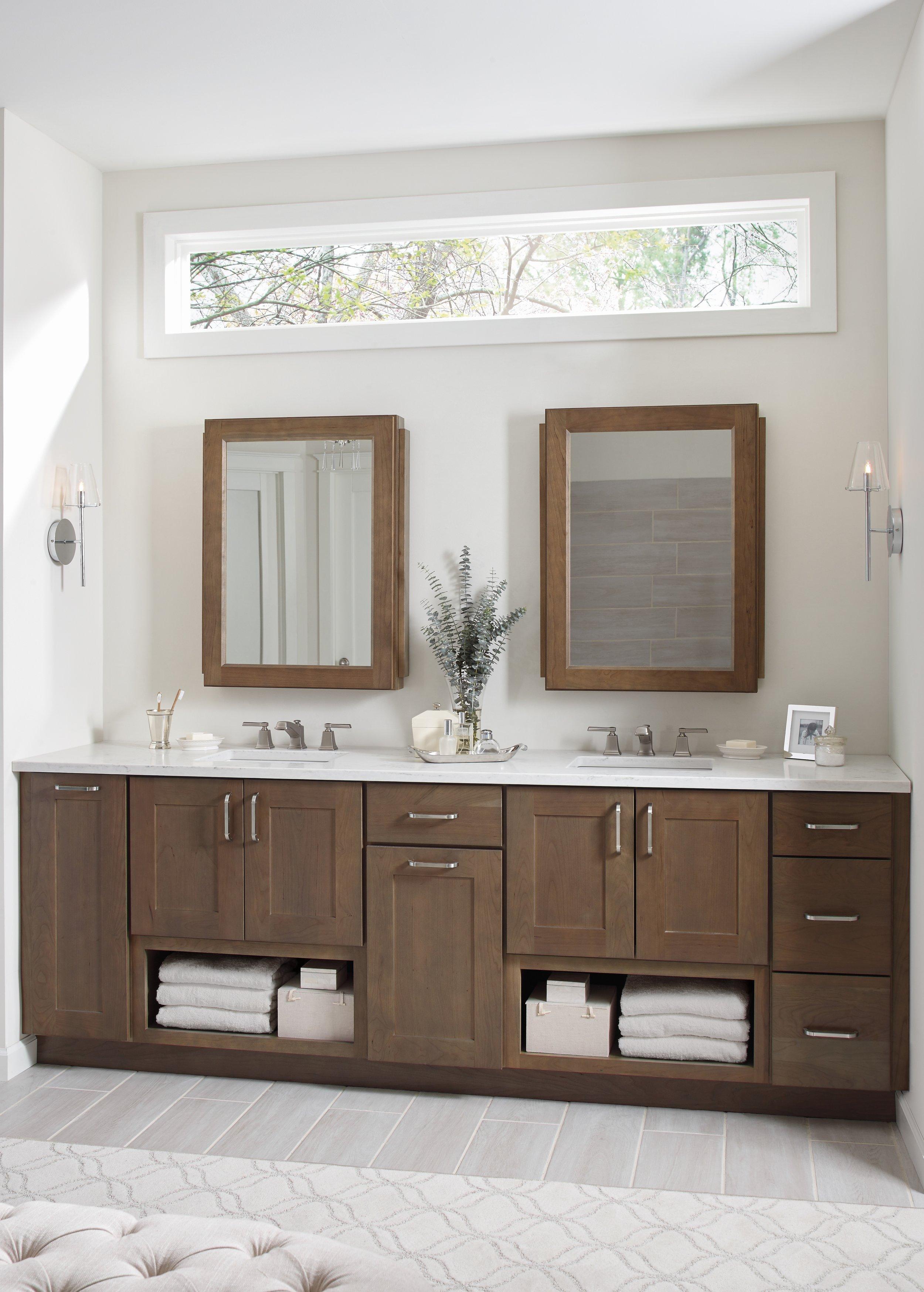Nicole Janes Design Diamond Cabinets Wood Master Bathroom Double Vanity Medicine Cabinets