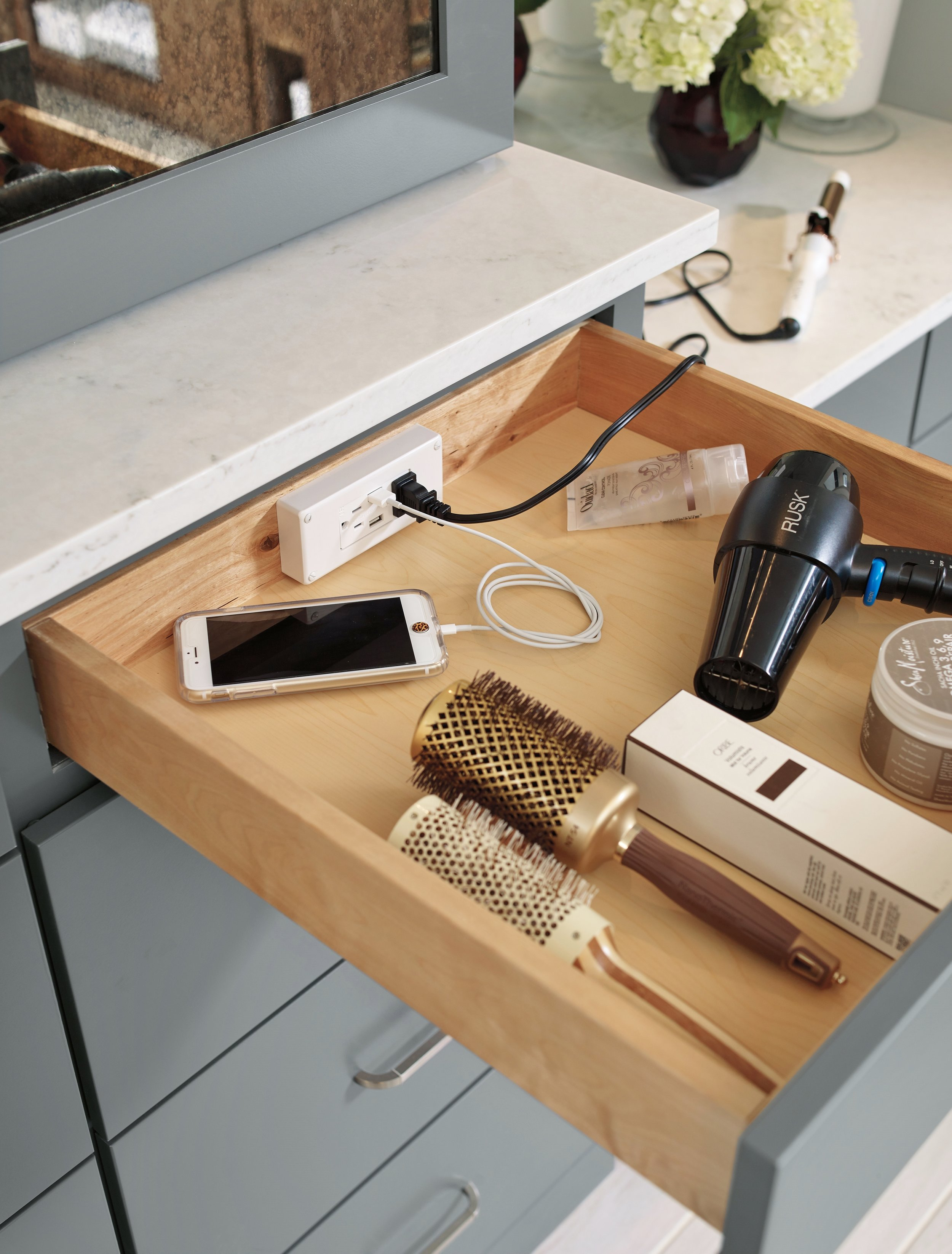 Nicole Janes Design Diamond Vanity Cabinetry Gray Bathroom Docking Drawer Outlet