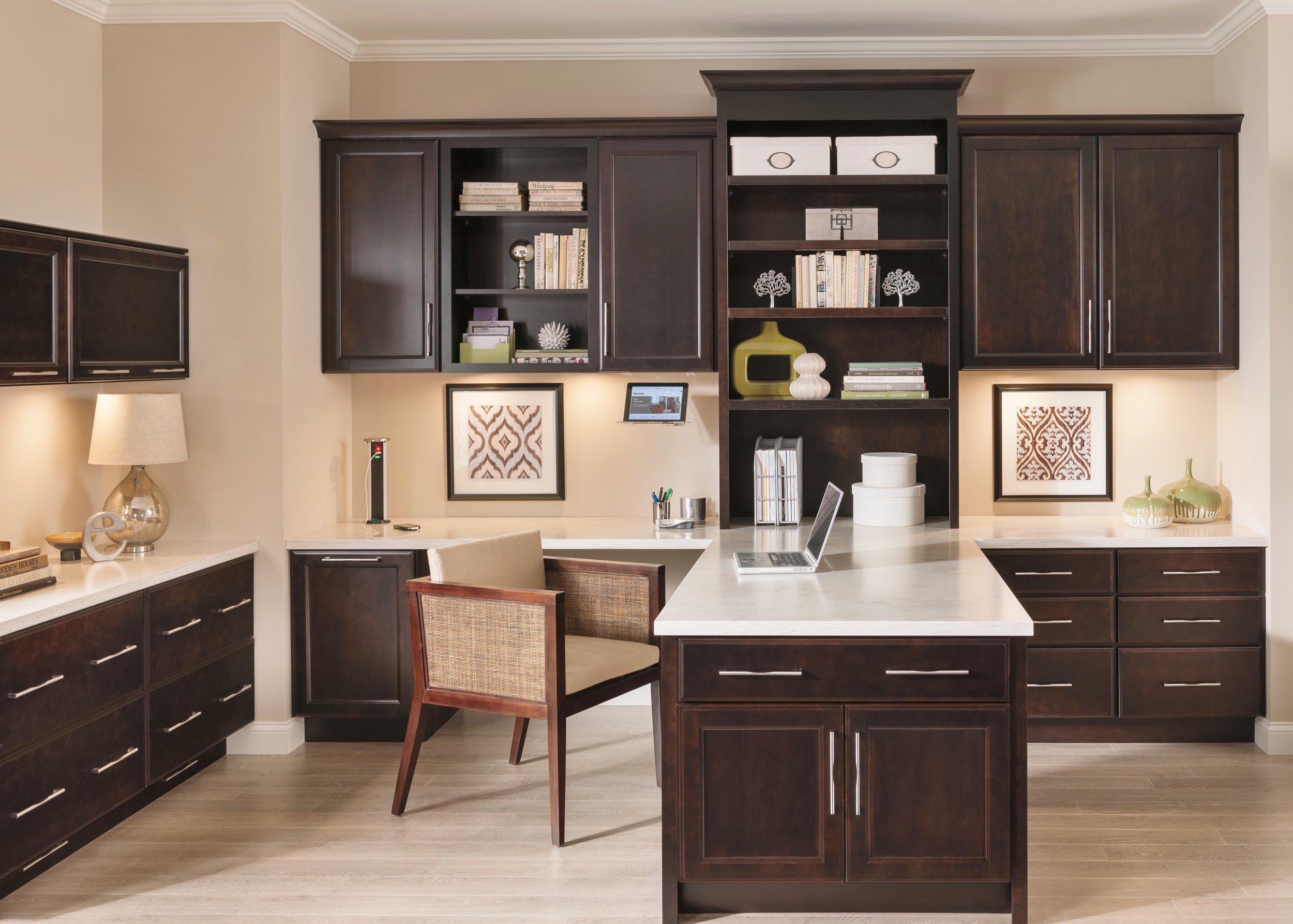 Nicole Janes Design Diamond Cabinets Brown Wood Home Office Desk Computer Work Station