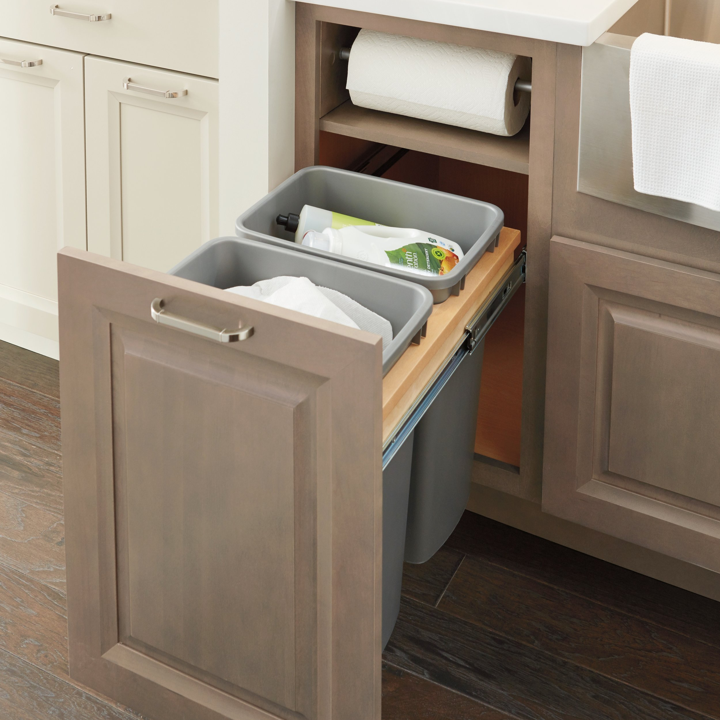 Double Trash Pullout with Paper Towel Storage  Source -  Masterbrand Cabinetry