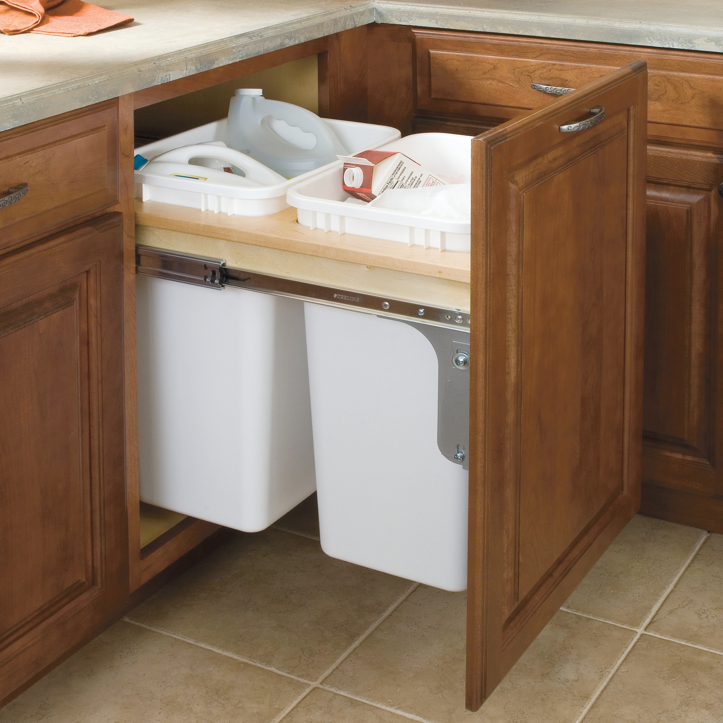 Double Trash Pullout  Source -  Masterbrand Cabinetry