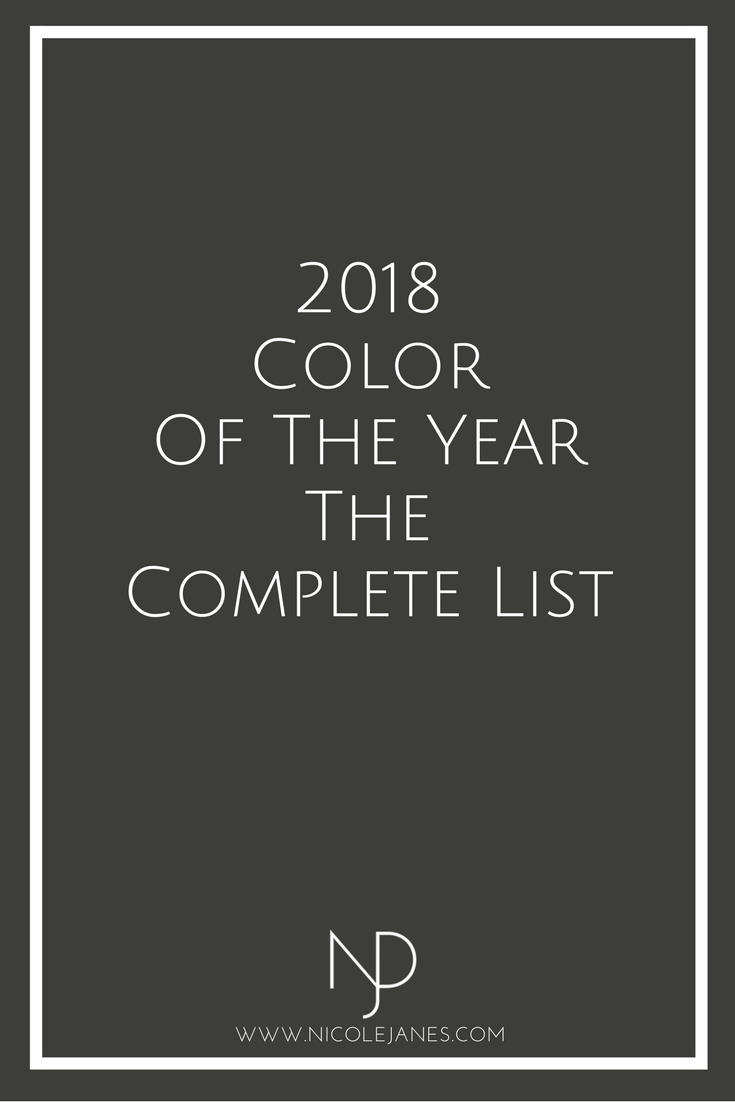 2018 Color of the Year The Complete List