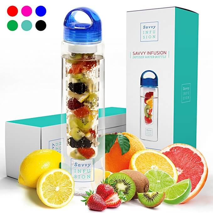 Savvy Infusion Water Bottles - 24 or 32 Ounce Fruit Infuser Bottle