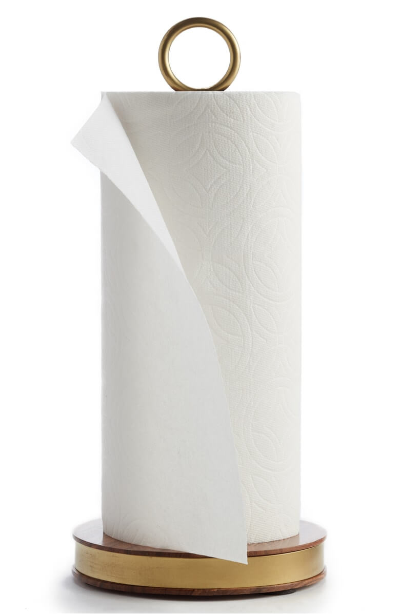 Nordstrom at Home Acacia Wood Paper Towel Holder Gold Metallic
