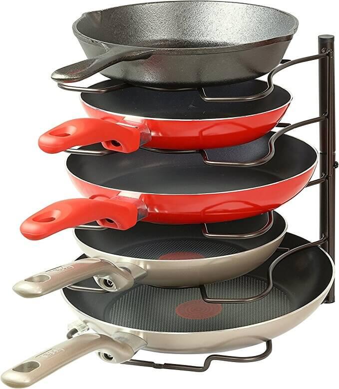 SimpleHouseware Kitchen Cabinet Pantry Pan and Pot Lid Organizer Rack Holder Bronze.jpg