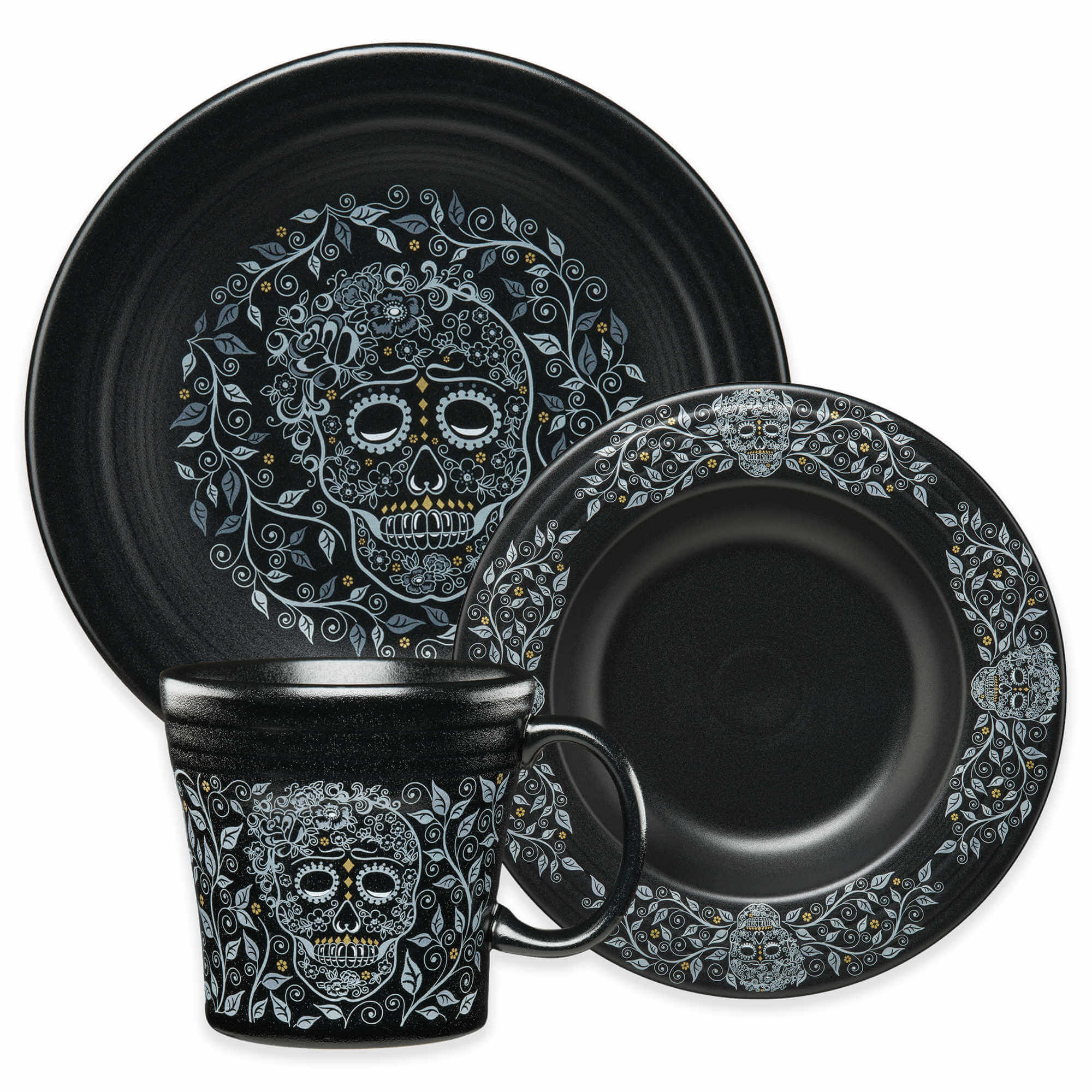 Fiesta Skull and Vine Dinnerware Collection in Black