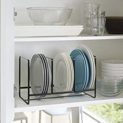 YAMAZAKI home 2965 Tower Dish Storage Wide Rack, Large, Black Cabinet Organization Organizer Nicole Janes Design.jpg