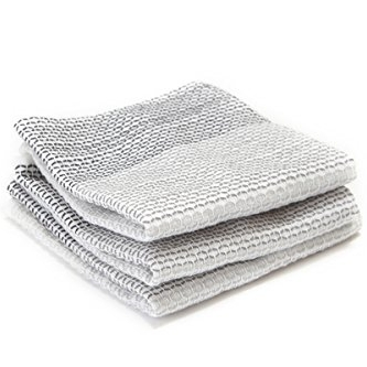Full Circle Tidy 100% Organic Cotton Dish Cloths Set of 3 Grayscale