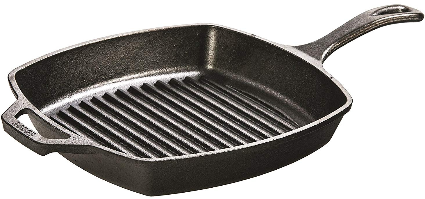 "Lodge 10.5"" Square Cast Iron Pre-seasoned Grill Pan"