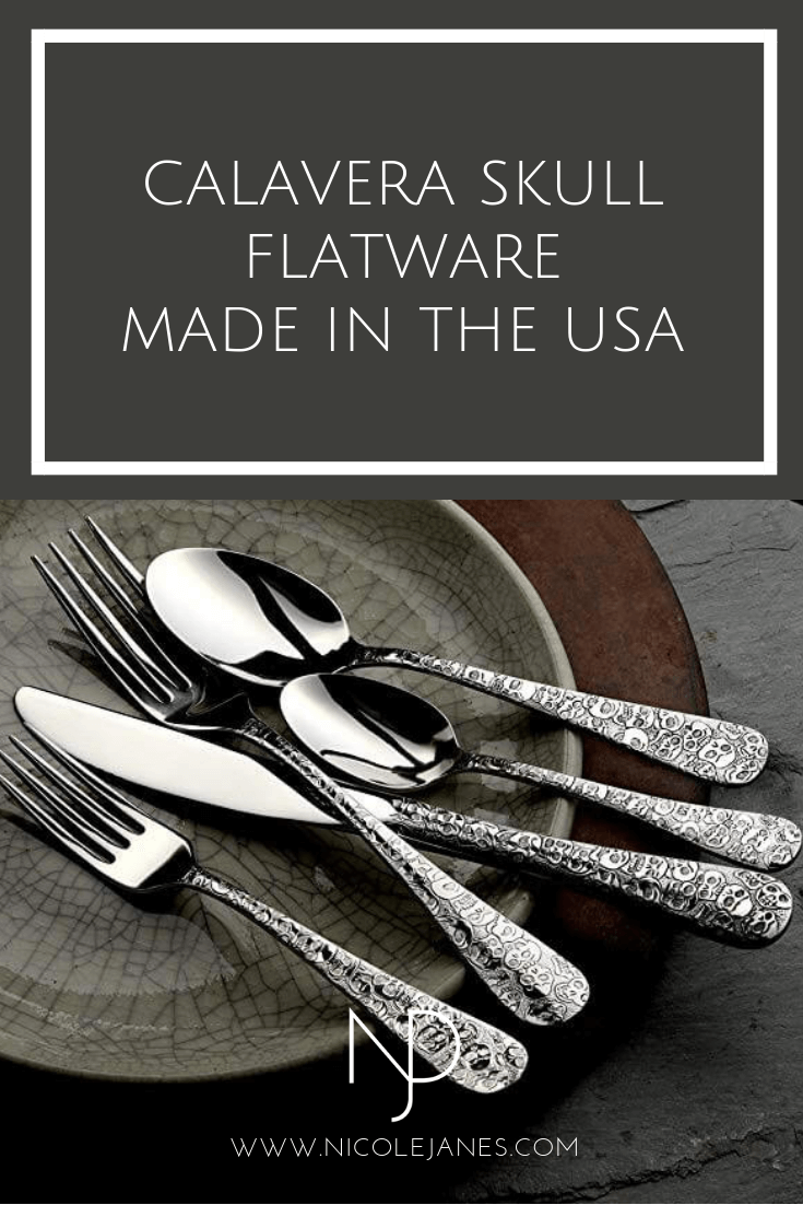 Calavera Skull Flatware Set 18 10 Stainless Steel libery Tabletop Made in USA Nicole Janes Design.png