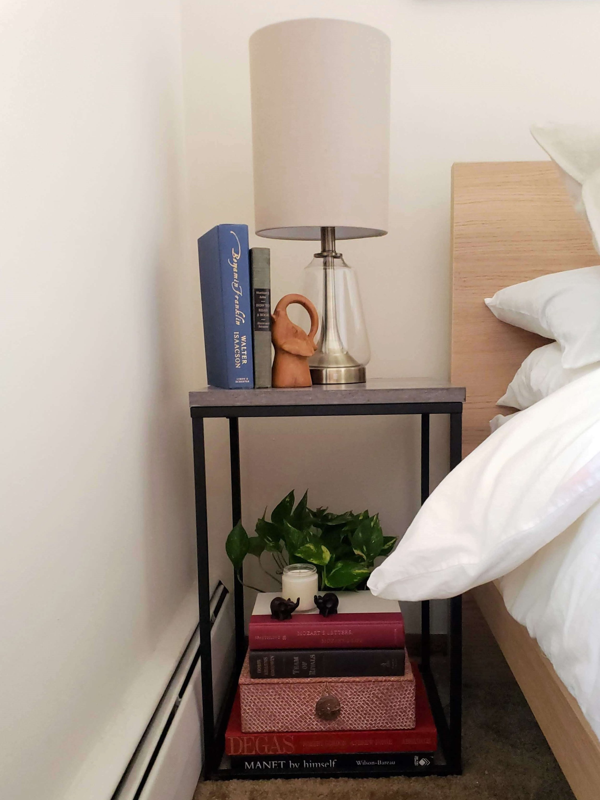 "Boho Bedroom Ikea Malm Bed Black Metal Nightstand Berkshire 22"" Table Lamp Antique Brass"