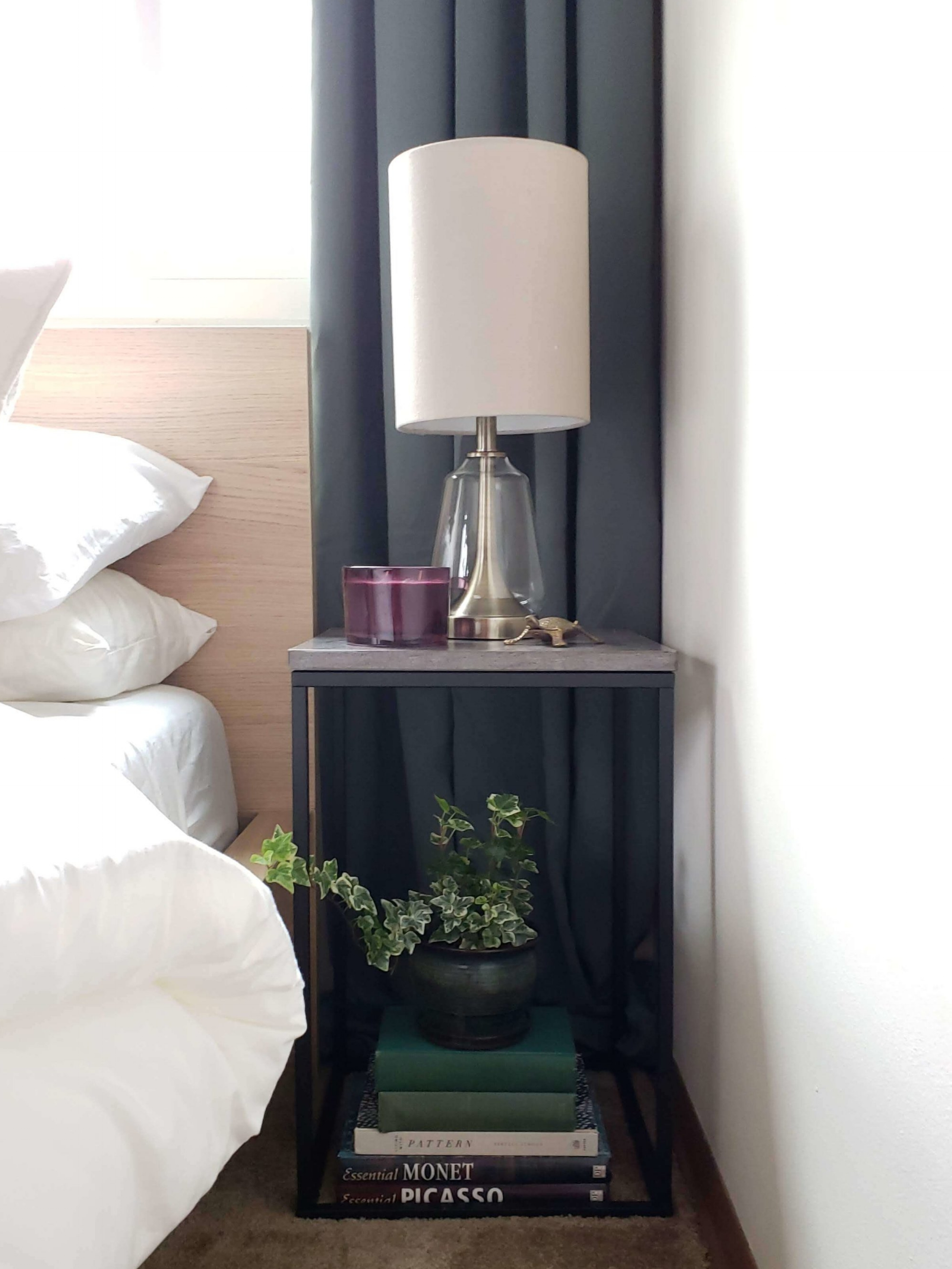 """Boho Bedroom Ikea Malm Bed Black Metal Nightstand Berkshire 22"""" Table Lamp Antique Brass Green curtains drapes"""