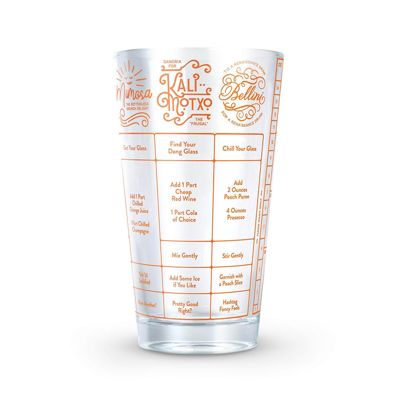 Fred & Friends Fred Good Measure Cocktail Recipe Glass