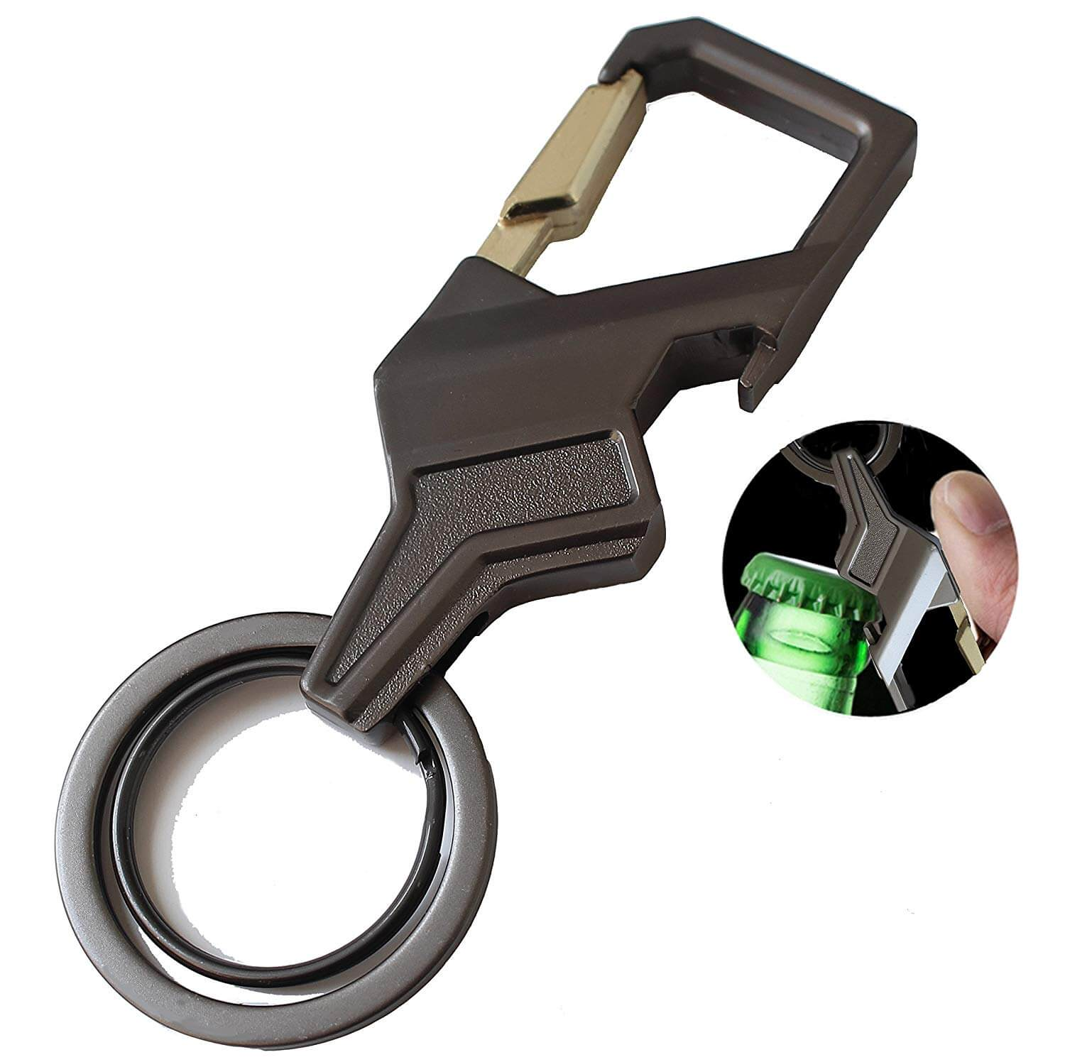 Stainless Steel Keychain with 2 Key Rings & Bottle Opener