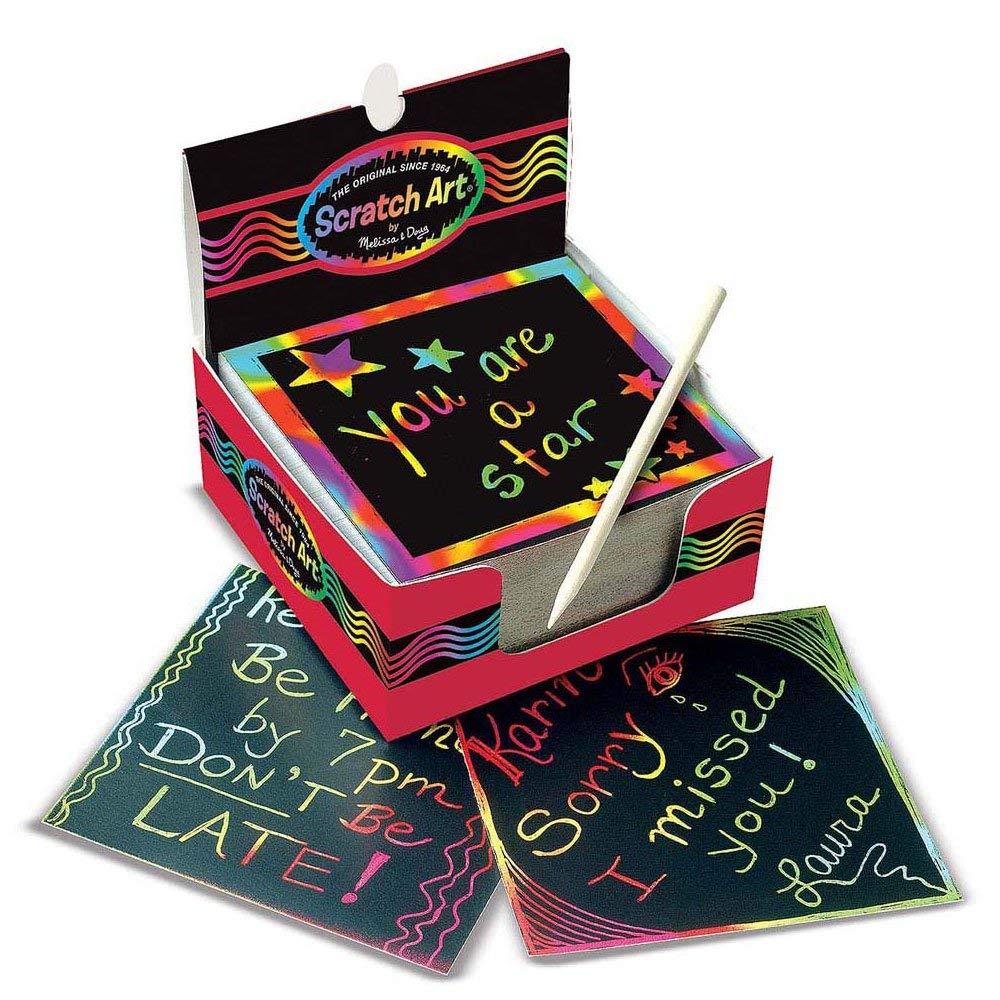 Melissa & Doug Scratch Art Rainbow Mini Notes 125 ct With Wooden Stylus