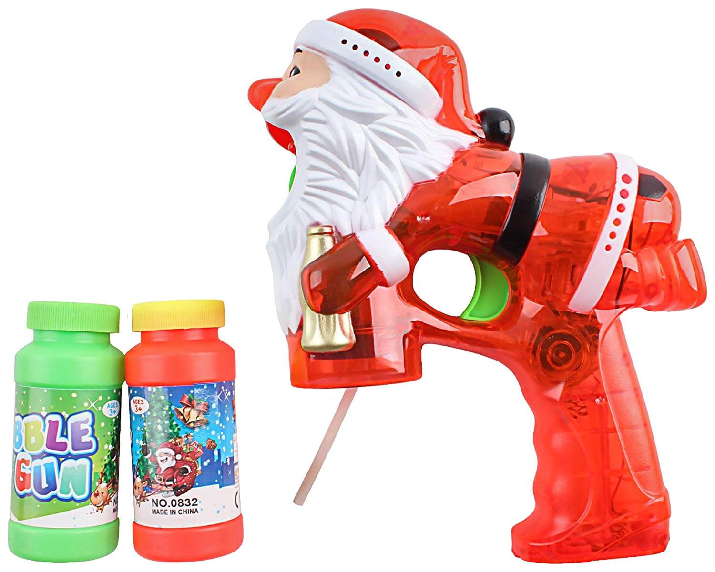 Flashing Santa Bubble Blaster Gun with 2 Bottles of Bubble Fluid