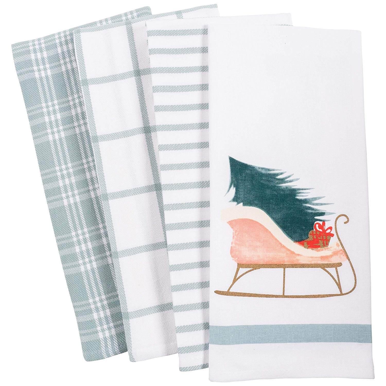 Vintage Sleigh Holiday Kitchen Dish Towel Set of 4
