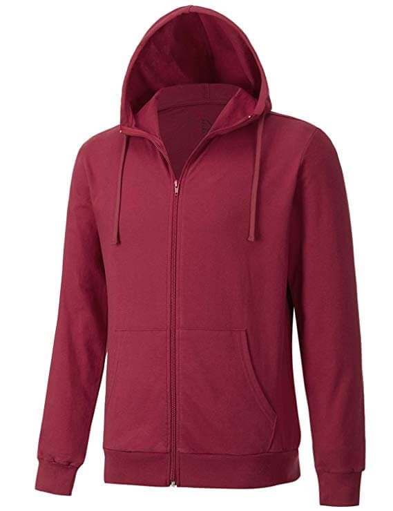 Men's Long Sleeve French Terry Lightweight Zip-up Hoodie