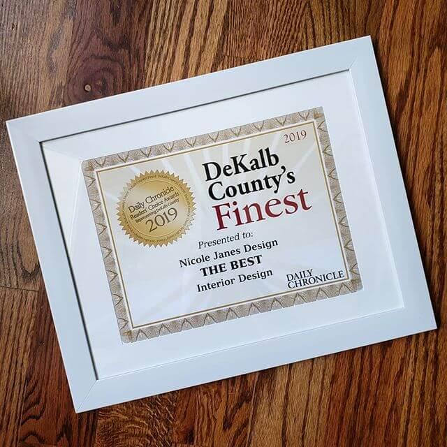 Framed Certificate DeKalb Countys Readers Choice Awards 2019 Nicole Janes Design Interior Design Sycamore IL 60178.jpg