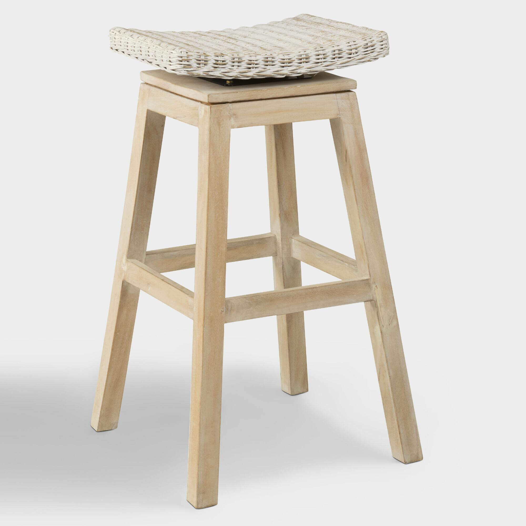 Rattan And Teak Leyla Swivel Barstool