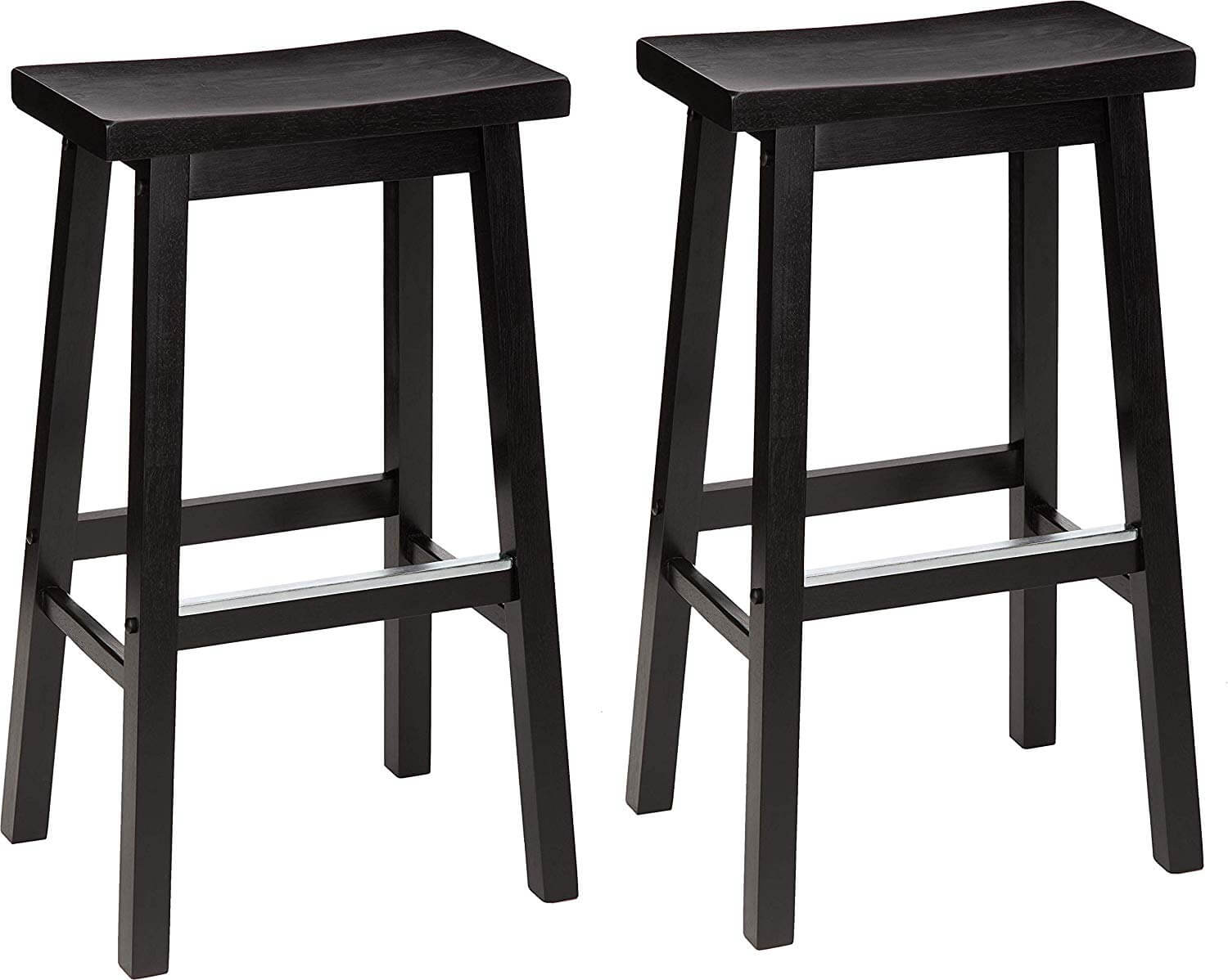 Classic Solid Wood Saddle-Seat Kitchen Counter Stool Set of 2