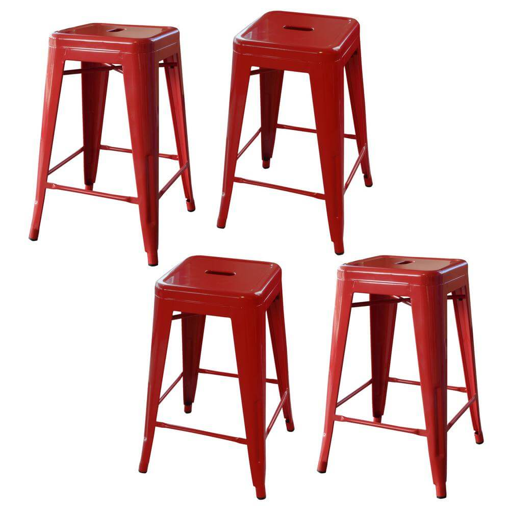 Stackable AmeriHome Loft Metal Backless Bar Stools