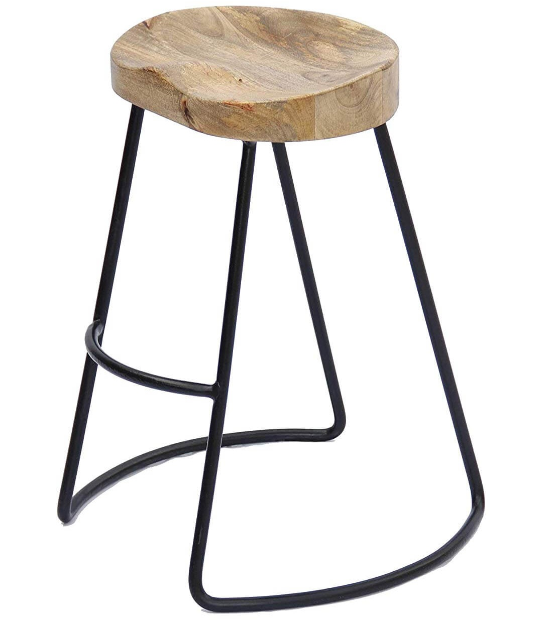 The Urban Port Antique Colonial  Barstool with Iron Legs