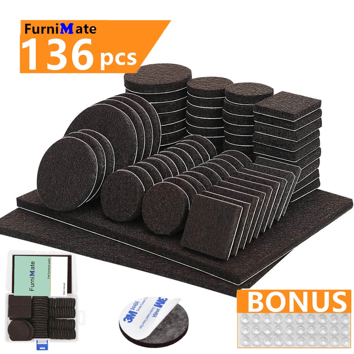 Furniture Pads 136 Pieces Pack Self Adhesive Felt Pad Brown Felt Furniture Pads 5mm Thick Anti Scratch Floor Protectors for Chair Legs Feet with Case and 30 Rubber Bumpers for Hardwood Tile Wood Floor.jpg