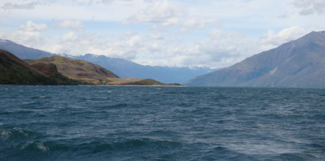 In the northern part of the lake, looking north along the glacial trough which the lake now occupies. Minaret Bay is at the left.