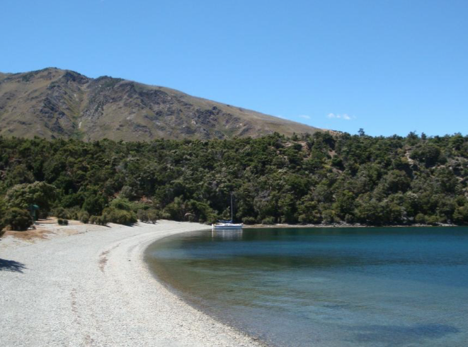 The beach on the southwestern side of Stevenson's Island. There is a campsite here, and tracks lead off in various directions. Skippers should keep an eye out for a reef at the western end of the beach.