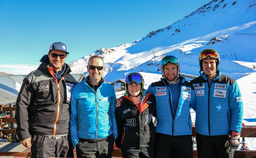 Huge thanks to the team at Mt Hutt for early season training. (left to right: Nils Coberger, James, me, Willis Feasey and Adam Barwood,